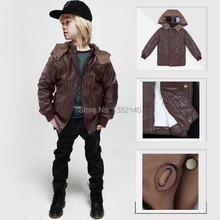 New Windproof Child Boy clothing,High quality PU fabric jacket coat,Kid winter clothes,Grab Plush lining child winter outwear