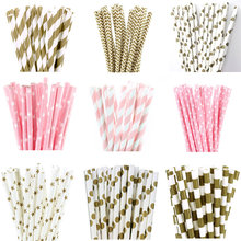 25pcs Metallic Gold Light Pink Paper Straws for birthday wedding decorative party event Drinking Straws supplies(China)