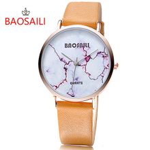 BSL1000 BAOSAILI Red Crack White Marble Design Real Gold Plating Japan Movt Waterproof Fashion Watch for Women(China)