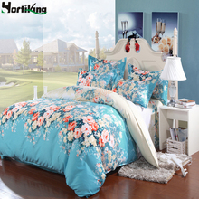 2 color 4pcs/set 3D red/blue flower comfortable bedding set king queen full twin size classic bed linen duvet cover set H-4JT06