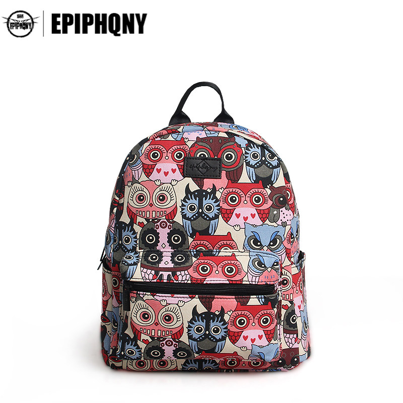 Epiphqny Famous Brand Owl Printing Backpacks Women Canvas Packbag Girls College Students School Bagpack Cool Travel Bag Lady<br>
