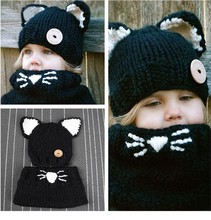 Kids Knitted Hat 3D cat Hat  For Girls Winter Caps Kitty Shawl Hats Casual Animal Connecting Cap For Girls For 2-5Y