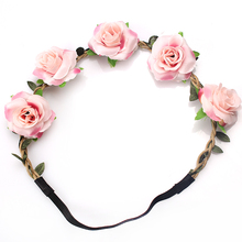 M MISM New Fashion Woman Faux Flowers Elactic Hair Bands for Wedding Headband Knitted Girls Beauty Leaves Accessories Headdress(China)