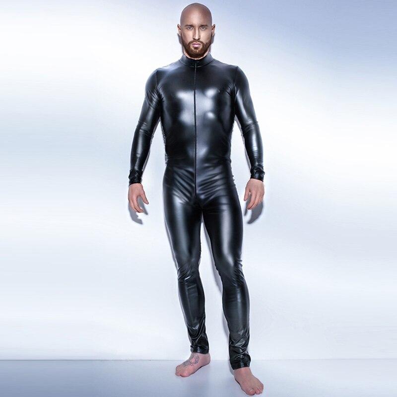 Black Wetlook Men\`s Fullbody Zentai Catsuit for Men One Piece Patent Leather Leotard Zipper Perfermance Costume Plus Size 4XL W930917 10.10 S-4XL (5)