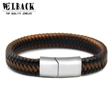 2017 New Brand Punk Rock Style Popular Accessories Magnet Hand Made Women Leather Bracelet For Men's Accessories(China)