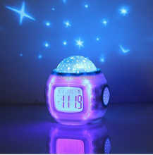 Music Starry Sky Projection Color Change Star Sky Digital Projection Alarm Clock BedRoom Sky Star Night Light Projector Lamp(China)