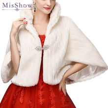 Hot Sale MisShow Ivory Faux Fur Wedding Accessories 2017 Jacket Bridal Winter Warm Bride Wrap Shawl Cape Short Coat Real Picture
