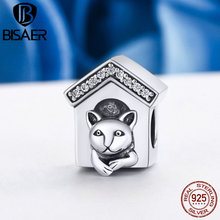 BISAER Genuine 925 Sterling Silver Doggy House Puppy Home Cute Dog Beads fit Original Pandora Charm Bracelet DIY Jewelry Gift