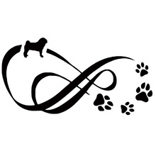 12.2*6.3CM Pug Dog Eternity Animal Paw Print Car Styling Classic Window Decorative Stickers Black/Silver C6-1079