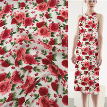 "Red rose print floral design 100% pure silk Georgette Crepe silk fabric 14momme 46"" width by yard,SCG077"
