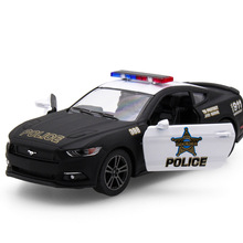 New 1:38 Ford 2015 Mustang Gt Police Car Alloy Diecast Model Pull Back Toy Car Vehicle Toy Collection Gift For Kid Toy Metal Car