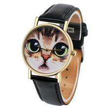 2017 Brand Fashion Womens Watch Cat Pattern Leather Band Analog Quartz Vogue Wrist Watch Casual Wristwatches Relogio 5 Colors