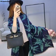 Women Cashmere Scarves and Inverno Shawl For Ladies Swallow Printing Warm Wrap and  Winter Double Sides Scarf SC2980