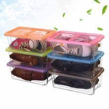 1Pc Translucent Storage Shoebox Candy Color Metal-edged Drawer Type Plastic PP Shoe Organizer Thickened drawer Shoe Box #45(China)