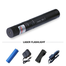Tactical flashlight Pen 532nm led torch Green Laser Pointer 303 Adjustable Focus Laser Light use 18650 or 16340 charge battery(China)