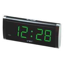 1.4 inch LED timer slim large display table clock .blue green red color desktop with AC power EU plug .Parents like alarm clock(China)