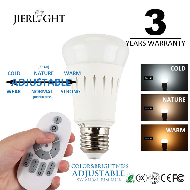 2.4G E27 9W Wireless LED Bulbs Light Brightness Color Temperature Adjustable Bulb with RF Remote Controller<br><br>Aliexpress