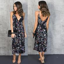 Sexy Hot Cheap Women V Neck Boho Long Maxi Evening Party Beach Dress Floral Sundress THE LEOPARD DRESS Vestidos Largos(China)