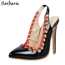 Sorbern Black Pointed Toe Slingbacks High Heels Nightclub Nigerian Dresses For Parties Women Shoes Size 11 Open Heels Stilettos(China)