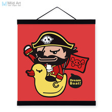 Pirate Yellow Duck Red Modern Abstract Poster Print Cartoon Animal Picture Large Canvas Painting Kids Room Wall Art Sticker Gift(China)