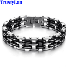 TrustyLan New Arrival 14MM Wide Bike Bicycle Chain Bracelet Men Stainless Steel Silicone Men's Bracelets Male Jewelry Accessory