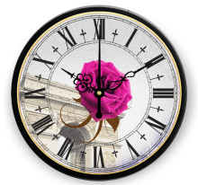 Hot Sale Home decor large 3d wall clock Quartz Needle living room wall clock watch rose flower diy digital Clock(China)