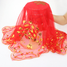 Women Lady Flora Transparent Red Bonnet Bridal Props Veil Chinese Embroidery Phoenix Sequined Head-wear Wedding