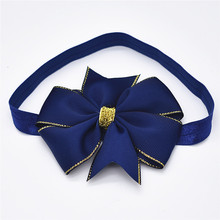 14 Shades Of Grey Children's bow hair ribbon headband aureate bowknot Bud silk hair band 1pcs(China)