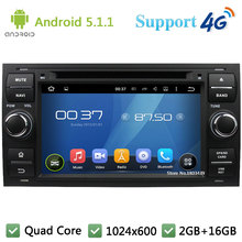 Quad Core 1024*600 Android 5.1.1 Car DVD Player Radio Stereo PC 3G/4G WIFI GPS Map For Ford Focus 2 Mondeo Transit C-Max Fiesta(China)