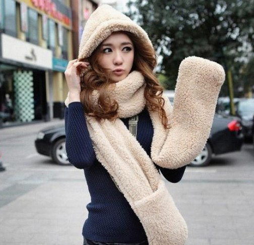 2016 Autumn and winter freeshipping super warm plush sheep Wool cap with scarf gloves hat  Women fashion women warm scarf setÎäåæäà è àêñåññóàðû<br><br><br>Aliexpress