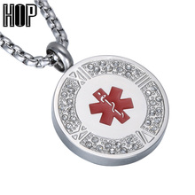 HIP Pave Rhinestone Titanium Stainless Steel Star of life Medical Sign ID Pendant Necklace for Men Jewelry(China)