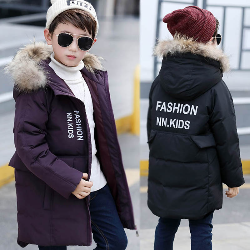HSSCZL Korean childrens down jacket big authentic winter boy white down coat thicken overcoat outerwear parkas hooded 6-12 ageÎäåæäà è àêñåññóàðû<br><br>