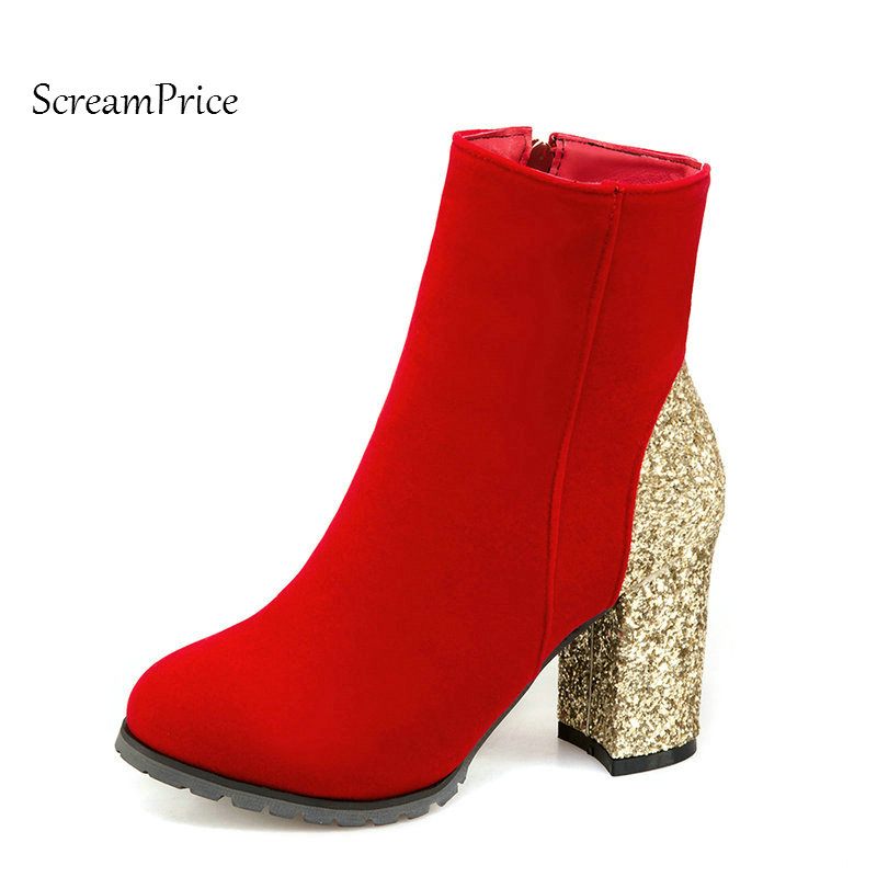 Woman Sqaure High Heel Round Toe Ankle Boots Fashion Side Zipper Dress Boots Short Plush Winter Boots Black Red Gold Sliver<br>