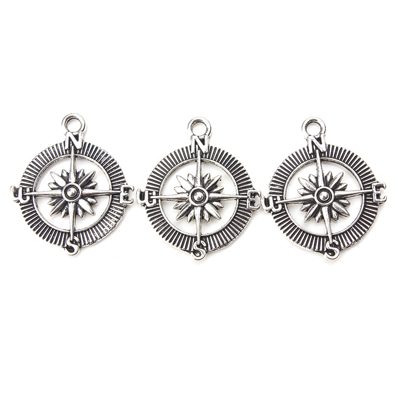 10pc/lot 21mm x 17mm Compass Charms Antique Silver Tone lucky charms bracelet & necklace diy jewelry accessories making