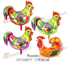 77*56cm  wholesale 50pcs/lot Rooster Foil Balloons Children's Classic Toys Helium Balloon Party Decorations  Animal Balloon