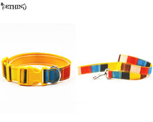 Adjustable Nylon dog collar lead rainbow style yellow color S L pet collar leash for small and medium dog puppy dog collar lead