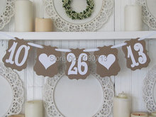 Free Shipping 1 X Retro Customized Date Banner save the date Wedding Photo Prop Sign Hanging Bunting Garlands(China)