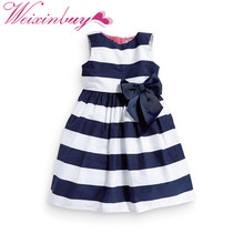 Baby Kid Girls One Piece Dress Blue White Striped Bow Summer Tutu Dress New(China)