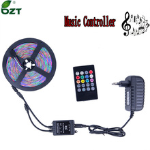 RGB LED Strip 5M 300Leds SMD3528 LED Light Music Controller 12V 2A Power Adapter Flexible Light Led Tape Home Decoration Lamps