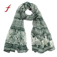 Feitong Quality New Ladies Scarves For Women Female Keep Warm Neck Stole Elephant Print Long Scarf Shawl Wrap Pashmina Stoles(China)
