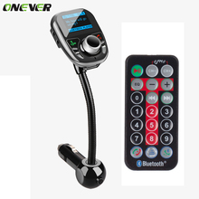 Onever Car MP3 Audio Player Bluetooth FM Transmitter With Remote Control Wireless FM Car Kit HandsFree LCD Screen USB Charger