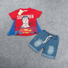 2-7 yrs 2017 New Summer Superman Children Clothing Sets boys Kids clothes fashion T-shirt+jeans 2 pcs set Baby Costume retail