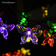 Feimefeiyou waterproof 4.8M 20LED Solar Lamps Butterfly garland fairy Christmas Outdoor Garden Party solar led decoration light