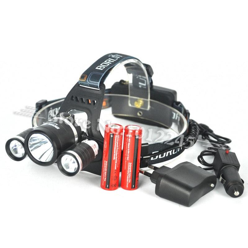 Boruit RJ-3001 8000 Lumen XM-L T6+2R5 LED Rechargeable Head Torch 4Mode Headlamp Flashlight Head Light+2x 18650 Battery &amp;Charger<br><br>Aliexpress