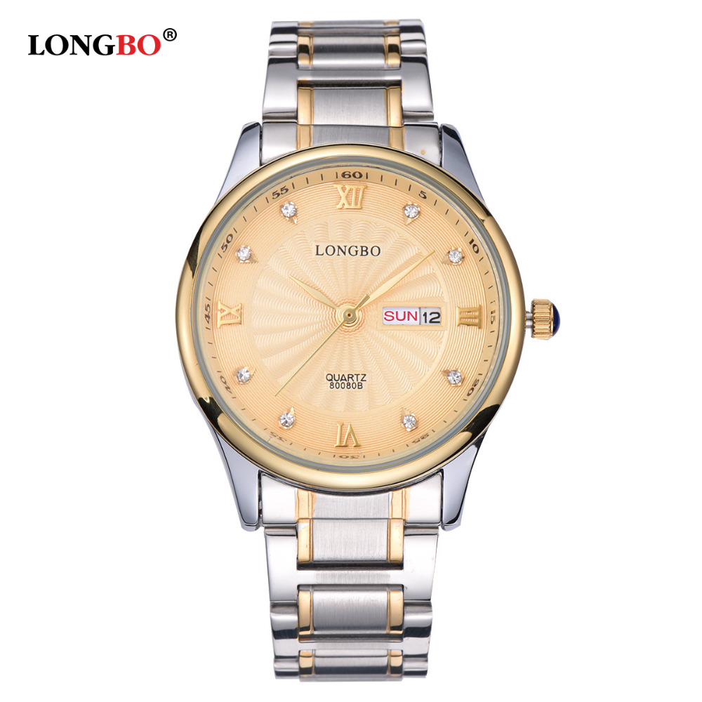 LONGBO Top Quality Male Luxury Brand Watches Swimming Water Quartz Rhinestone Watch Men Auto Date Steel Wristwatches 80080B<br><br>Aliexpress