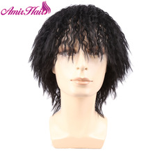 Amir Afro Short wig Hairstyle Black Synthetic Hair None Lace Kinky Curly Cosplay Party Wigs For Man And Women Peruca
