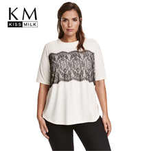 Kissmilk Plus Size Women Clothing Casual Solid Lace T-shirt Patchwork Short Sleeve Tops Tees O-Neck Loose Big 6XL - Store store