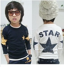 Spring models star star children cotton casual long-sleeved T-shirt baby boy T-shirt free shipping(China)