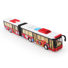 New 1:50 Scale Lengthened Bus Model Double Sections Pull Back Sound and Light Function Collections Children Toys White Blue Red(China)