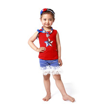 New Patriotic Baby Clothes 4th July Red Star Baby Top Big Lace Ruffle Striped Short Set Patriotic Boutique Girls Clothing set